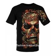 Мужская футболка Skull red с драконами и черепом фото