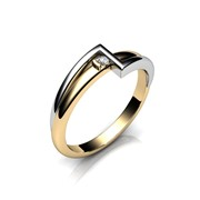 Кольцо АГ 035 (1) бр Са?ина (Алтын 585) Бриллиант кр. VVS1 F-G 0,04 кт фото