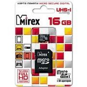 Карта памяти микро SDHC 16 Гб класс 10, UHS-I, Mirex, с адаптером SD фото