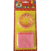 Набор свечей для торта, 24 шт, розовые, с подставками, (MILAND) фото