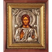 Икона Господь Вседержитель в киоте с окладом (тонированная медь). Арт. Гл.1823 фото