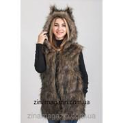 Меховая жилетка с капюшоном и ушками - Волчица 1 фото
