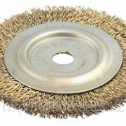Щетка дисковая для угл шлиф маш, стальная, 22мм / 150мм Код:3518-150-22 фото