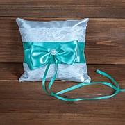 Свадебная подушечка для колец с мятно-зелёной лентой, арт. CR-204 фото
