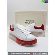 Кроссовки Alexander McQueen Александр МакКуин с прозрачной красной подошвой фото