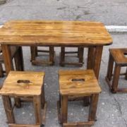 Набор мебели для кафе (стол 1000х700х750, табурет 380х380х450). Возможно старение, эффект древоточца, брашировка фото