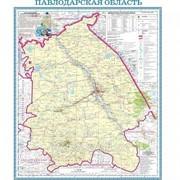 Карта областная Павлодарская, масштаб 1:1 000 000, 520*590 мм, не ламинированная фото