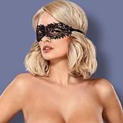 Чёрная ажурная маска на глаза на завязках фото