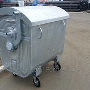 Контейнер металлический оцинкованный для сбора твёрдых коммунальных отходов (ТКО) объём 1.1 м3, ТБО фото
