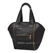 Сумка женская из натуральной кожи Shopping bag черная фото