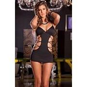 Облегающее платьице с имитацией шнуровок по бокам фото