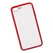 Защитная крышка «LP» для iPhone 7 Plus/8 Plus «Glass Case» с красной рамкой (прозр. стекло/коробка) фото
