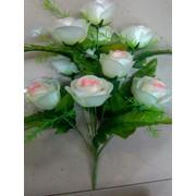 Цветок искусственный 12 цветков розы (светло-розовый павлин) Арт.055-14 фото