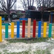 Забор деревянный Радуга для детских площадок фото