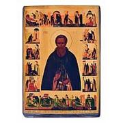 Мастерская старинной иконы Сергий Радонежский (с житием), святой преподобный (16 век), копия старой иконы, печать на дереве Высота иконы 13 см фото