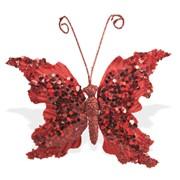 Декор Бабочка бархатная 14х15см рубин фото