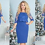Комбинированное платье женское (5 цветов) -Электрик ТК/-2153 фото