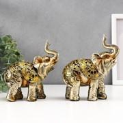 """Сувенир полистоун """"Слон с рисунками на попоне"""" набор 2шт. 14,5х13х5,7 см фото"""