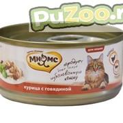 Мнямс - косервы для взрослых кошек со вкусом курицы с говядиной в нежном желе фото