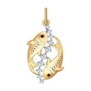 Золотая подвеска «Знак зодиака Рыбы» (035135) фото