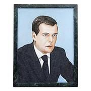 Портрет Медведев Д.А. на змеевике 34х44 см фото