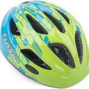 Шлем Flash INMOLD детский/подростковый СВЕТОДИОДНЫЙ ФОНАРИК 11отверстий зелено-синий 47-51см AUTHOR фото