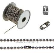 Цепь декоративная -шариковая - д-2,4мм серебр. фото