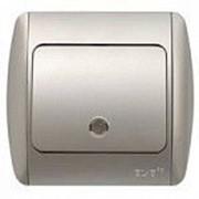 Выключатель ZIRVE с подсветкой SL-G серебристый с вставкой 501-1010-201 фото