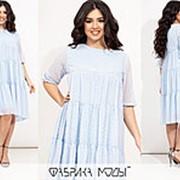 Воздушное шифоновое платье женское трапеция (4 цвета) ЕЕ/-8620/2 - Голубой фото