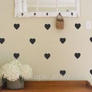 Виниловая наклейка на стену Черные Сердечки фото