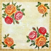 Салфетка для декупажа Три розы кракелюр фото