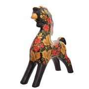 Ермиловская игрушка - Черная лошадка с хохломским узором фото