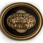 Картина с барельефом Тайная вечеря в овальном багете, металлизация, кожа 73 х 80 х 7 см фото