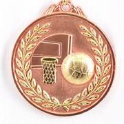 Медаль рельефная баскетбол - бронза фото