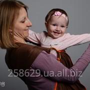 Слинг с кольцами для новорожденных и старше тм Наш слинг Браун сатиновый фото