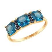 Кольцо из золота с синим топазом и фианитами (715023) фото