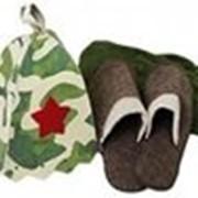 Подарочный набор 3 предмета в цветной картонной коробке (накидка д/бани и сауны муж, шапка Армейская, тапочки войлок) БШ фото