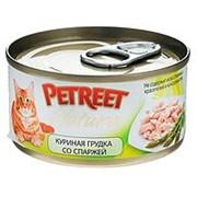 Petreet 70г конс. Влажный корм для взрослых кошек Куриная грудка со спаржей фото