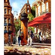 Жанровая картина с видом улицы и кафе в Париже маслом на холсте. фото