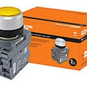 Кнопка MP1-21Y(LED) в сборе d22мм/220В 1з+1р желтая TDM фото