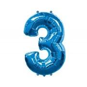 Шар фольгированный А Цифра 3 Blue фото