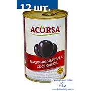 """Маслины """"АКОРСА"""" черные с косточкой, 425 гр. фото"""