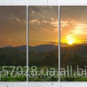Модульна картина на полотні Ранок в горах. Північний Кавказ код КМ100200(200)-102 фото