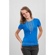Женская вышитая футболка. Орнамент синяя 62 фото