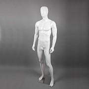 Манекен мужской в полный рост для одежды, без лица, с головой B16C-1(бел) фото