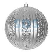 """Елочная фигура """"Полосатый шар"""", 20 см, цвет серебряный фото"""