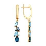 Серьги из золота с голубыми и синими топазами (725110) фото