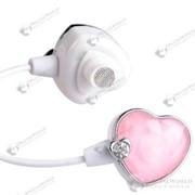 Модные наушники с розовым камнем в форме сердца и кристаллом белого цвета фото