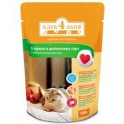 Консерва для котов с курой в деликатном соусе 100г - Клуб 4 лапы фото