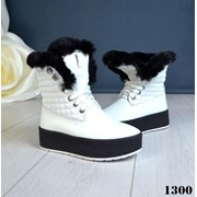 Женские зимние ботинки с меховой опушкой под мутон. ДС-16-1118 фото